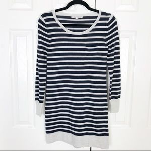 GAP navy and gray striped wool blend sweater dress
